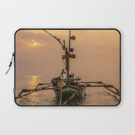 boat with sunset background Laptop Sleeve