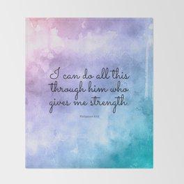 Philippians 4:13, Inspiring Bible Verse Throw Blanket