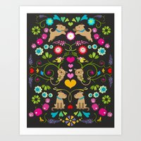 Colorfull dogs and cats Art Print
