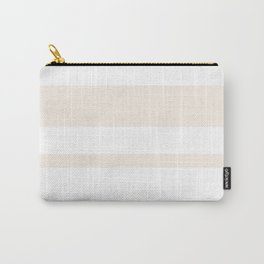 Mixed Horizontal Stripes - White and Linen Carry-All Pouch