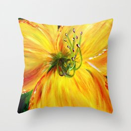 Yellow with Green Center Daylily Throw Pillow