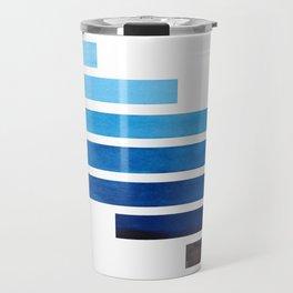 Prussian Blue Midcentury Modern Minimalist Staggered Stripes Rectangle Geometric Aztec Pattern Water Travel Mug