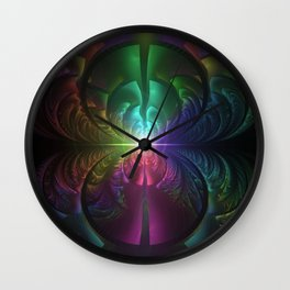 Anodized Rainbow Eyes and Metallic Fractal Flares Wall Clock
