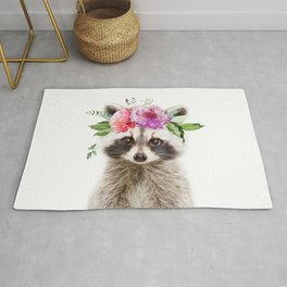 Baby Raccoon with Flower Crown Rug