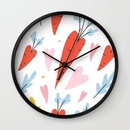 Cute heart shaped carrots Wall Clock