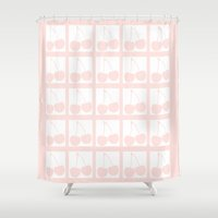 cherry Shower Curtains featuring Cherry by Pattern Variety