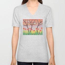 chickadees, pussy willow, & tulips Unisex V-Neck