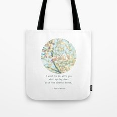 What the spring does to cherry trees Tote Bag