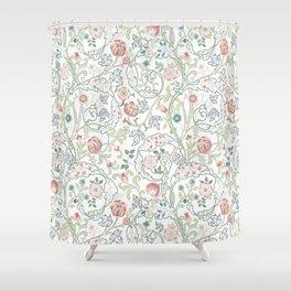 William Morris Pastel Floral Vine Pattern Shower Curtain