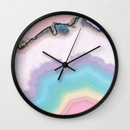 Rainbow Agate Slice Wall Clock