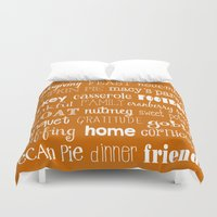 thanksgiving Duvet Covers featuring Thanksgiving Celebration by Tiffany Dawn Smith