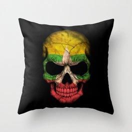 Dark Skull with Flag of Myanmar Throw Pillow