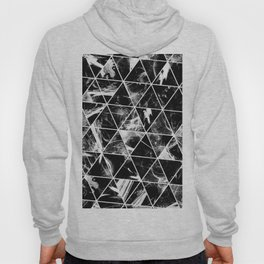 Geometric Whispers - Abstract, black and white triangular, geometric pattern Hoody