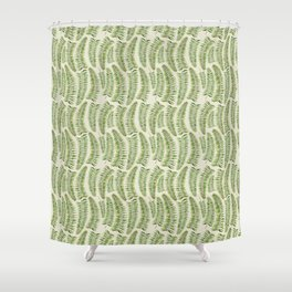 Palm leaves in tiger print Shower Curtain