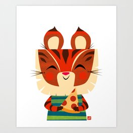 Pizza Tiger Art Print
