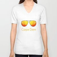 carpe diem V-neck T-shirts featuring Carpe Diem by Leah M. Gunther Photography & Design