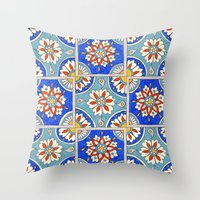 italian Throw Pillows featuring Italian Tiles by PeriwinklePeacoat