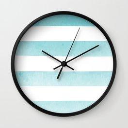 watercolor ocean stripes Wall Clock