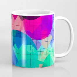 geometric square pixel and circle pattern abstract in pink blue green Coffee Mug