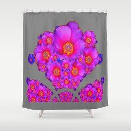 Modern Art Fuchsia Purple-Blue  Rose Flowers Grey Pattern Shower Curtain
