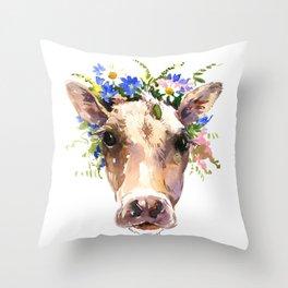 Cow Head, Floral Farm Animal Artwork farm house design, cattle Throw Pillow