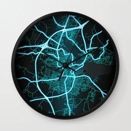 Kolding, Denmark, Blue, White, Neon, Glow, City, Map Wall Clock