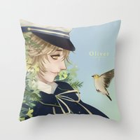 vocaloid Throw Pillows featuring Oliver by Leirix