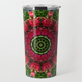 Red Roses with hearts 002, Floral mandala-style, Flower Mandala Travel Mug
