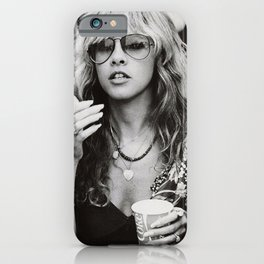 Stevie Nicks Young Black and white Retro Silk Poster Frameless iPhone Case