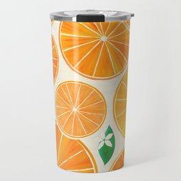 Orange Slices With Blossoms Travel Mug