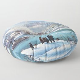 Mississippi River Paddlewheel Steamboat 'Forest Queen' in Winter by Martin Andreas Reisner Floor Pillow