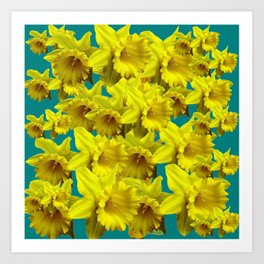 YELLOW SPRING DAFFODILS ON TEAL COLOR ART Art Print