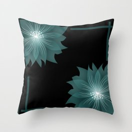 Blue flower on a black background . Throw Pillow
