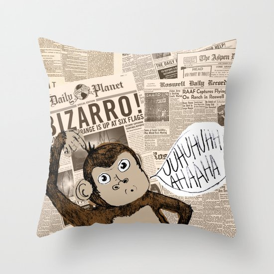 Bizarro Monkey Throw Pillow