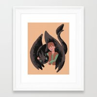 hiccup Framed Art Prints featuring Hiccup & Toothless by Adam Vass