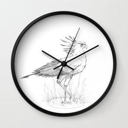 Secretary Bird Pencil Sketch Wall Clock