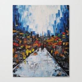 City of Reflections, NYC art, abstract city, city scape, colorful city Canvas Print