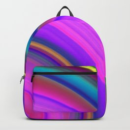 Juicy curved semicircles with a crisp violet accent and all the colors of the rainbow.  Backpack