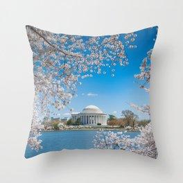 Jefferson Memorial under Cherry Blossoms Throw Pillow
