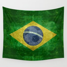 Vintage Brazilian National flag with football (soccer ball) Wall Tapestry