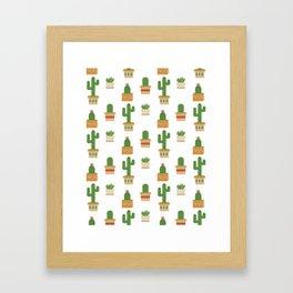 Southwestern Cactus Pattern Framed Art Print