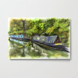 Narrow Boats Little Venice Art Metal Print