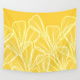Golden Yellow Flora Wall Tapestry