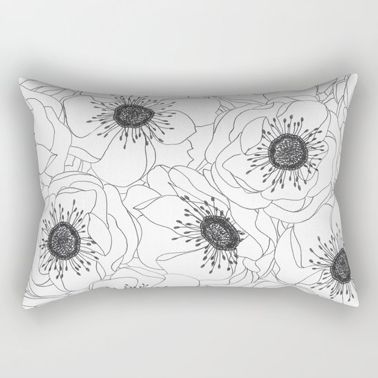 White Anemones Rectangular Pillow
