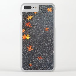 Scattered Leaves on Pavement no.5 Clear iPhone Case