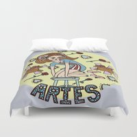 aries Duvet Covers featuring Aries by Iria Prol