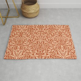 Art Nouveau Floral Damask, Light Mandarin Orange Rug
