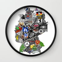 mercedes Wall Clocks featuring Germany Doodle by Rebecca Bear