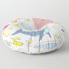 vsco girl - sticker like pattern Floor Pillow