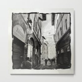 Duomo rising above city streets in Florence, Italy.  Florence fine art painting B&W art Italy decor watercolor print Metal Print